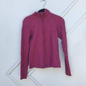 North Face Small Wool zip up sweater cranberry
